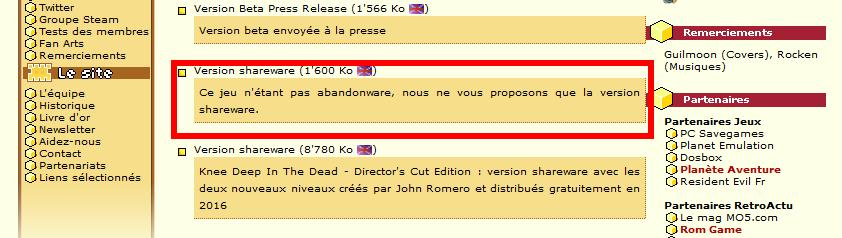 Téléchargement de DOOM shareware sur abandonware