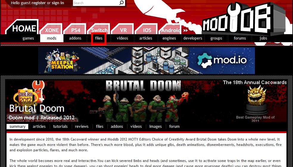 Page de téléchargement Brutal DOOM